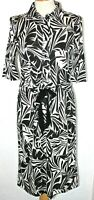 NWT Jaeger Shirt Dress Monochrome Tie Waist Black White Shirt Waister 12 RP £160
