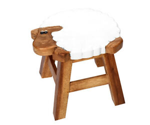 Children's Stool Holz Animal Motif Solid Wood Stool Round Acacia Stool for Kids