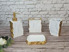 4 Pc Resin Bathroom Accessory/Accessories Set w Dispenser/Soap Dish