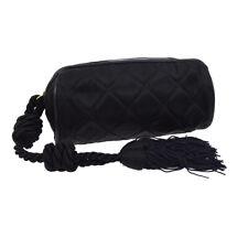 CHANEL Quilted Fringe CC Clutch Bag Pouch 0292851 Purse Black Satin AK25388j