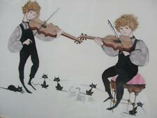 FRAMED # PRINT ~  FIDDLERS (Violins) w CATS - Signed: MASS (?) '81 909/1000