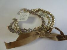 Ann Taylor Loft Bead Crystal Layered Velvet Bow Tie Stretch Bracelet NWT 24.50