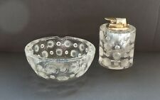 Lalique TOKYO Clear & Frosted Crystal Art Deco Ashtray & Lighter Cigarette Set