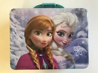 Tin Metal Lunch Snack Toy Box Frozen Elsa Anna Snow Lavender NEW