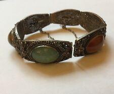 Antique Chinese Silver Ladies Filigree Jade Carnelian Tigers Eye Bracelet