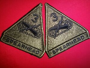 Set Of 2 US 3rd ARMORED Division SPEARHEAD Merrowed Edge Subdued Patches