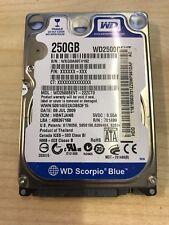 "Western Digital Scorpio 250GB 2.5"" SATA HDD Hard Disk Drive WD2500BEVT *FAULTY*"