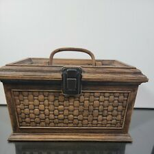 Vintage Lerner Faux Wood Grain Plastic Sewing Box With Tray 10 X 6 X 7 Usa