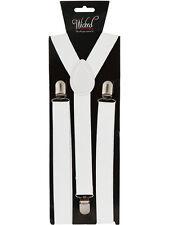 Elastic White Braces Mens Ladies 2.5cm Wide Slim Fancy Dress Suspenders