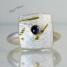 Ptauag ETSY Designer Iolite Handmade Sterling Silver 18K Gold Ring Size 8