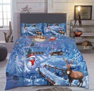 Christmas Xmas Duvet Cover Festive Season UK Bedding Set Pillow Case All Sizes