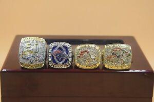 4 Set 1997 1998 2013 2015 Denver Broncos World Championship Ring //