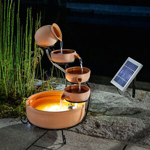 Solaire Kaskadenbrunnen Avec Batterie + LED Fontaine Puit de Jardin Esotec