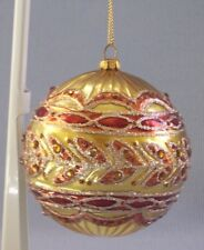 """Dillard's Christmas Ornament Ball Handcrafted Boxed Round 3"""" Diameter Gold"""