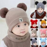 Toddler Girl&Boy Baby Infant Winter Crochet Knit Hat Beanie Cap Scarf Set Gifts