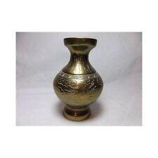 """Vtg Asian Etched Brass Vase Dragon ocean metal craft decor art 5"""""""