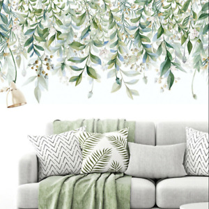 Nursery Green Hanging Beautiful Leaves Branch Art Decor DIY Removable Wall Decal