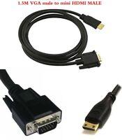 1080P mini HDMI Male to VGA male Video Converter Adapter Cable for PC DVD HDTV