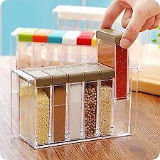 Spice Rack Jars 6Pc Plastic Box Kitchen Set Sugar Salt Pepper Storage Container.