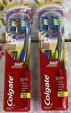 2 Packs Colgate 360 Advanced 4 Zone Toothbrush SOFT Bristle Value Pak 4 Brushes