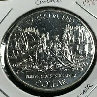 CANADA 1989 SILVER DOLLAR  MACKENZIE RIVER BRILLIANT UNCIRCULATED COIN
