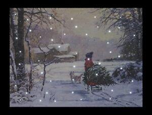 Christmas Tree Child & Dog Festive Snowy Fibre Optic LED Canvas/Picture 40x30cm