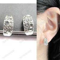 U CLIP ON curved HUGGIE EARRINGS rhinestone CRYSTAL non-pierced SILVER PLTD