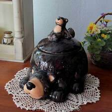 """They're Cute! WOODLANDS 9"""" BEAR COOKIE CANDY JAR CANISTER Lodge Kitchen Decor"""