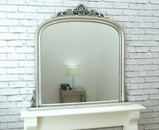 Dayton Large Antique Silver Ornate Arched Overmantle Wall Mirror 109cm X 104cm