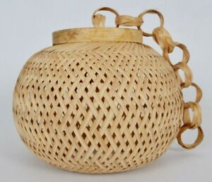 Home Office Garden Antique Decorative Hand Knitted Pendant Hanging Bamboo Lamp