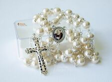 Collana Rosario in perle beige con medaglietta di Padre Pio