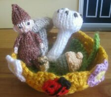 HAND KNITTED MAGICAL ENCHANTED FOREST PIXIE BABY. 4 INCHES TALL. 6 PC. SET.