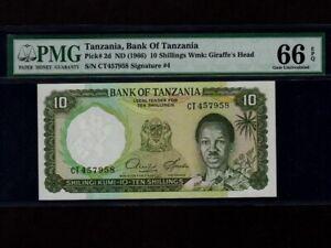 Tanzania:P-2d,10 Shillings,1966 * President Nyerere * PMG Gem UNC 66 EPQ *