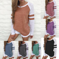 Women Crew Neck Long Sleeve Striped Tops Blouse Casual Loose Pullover