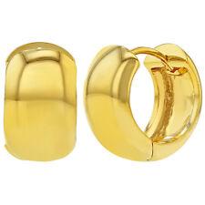 "18k Gold Plated Classic Plain Wide Huggie Small Hoop Earrings for Women 0.70"""