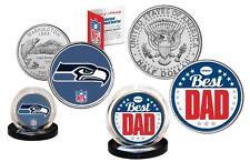 Best Dad - SEATTLE SEAHAWKS 2-Coin Set Quarter and JFK Half Dollar NFL LICENSED