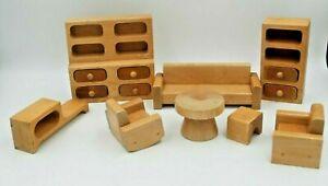 Vintage Wooden MCM Dollhouse Furniture: Living Room Set, 8 pieces