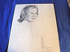 ANTIQUE 1937 PENCIL DRAWING SIGNED ARTIST ECJ GIRL PORTRAIT 16 X 20 SHOWS WEAR