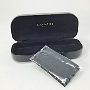 Coach NY~Glasses Case~Hard~Black~Clamshell~Sunglasses~Eyeglasses~Cleaning Cloth