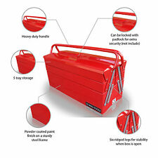 50 US PRO TOOLS PORTABLE CANTILEVER TOOL CHEST BOX RED TRAY GARAGE STORAGE