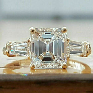 2.00 Ct Asscher Cut Three Stone Moissanite Engagement Ring 10k Solid Yellow Gold