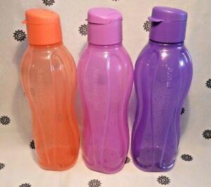 NEW Tupperware Round 750ml Eco Drink Bottle Flip Top Glitter Purple Coral Pink