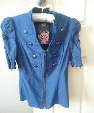 Ladies Royal Blue Jacket / Top   - Sz 8 / Small  - Military styling - New + tags
