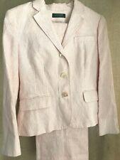 RALPH LAUREN Linen Pinstripe Suit Pants 4P Blazer 8P Set in White Salmon Pink