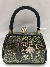 Debbie Brooks Black White Silver Handbag Evening Bag Handle New GEM Flower Sassy