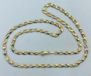 """18ct Gold 3 x Colour Gold 24"""" Fancy Link Necklace.  Goldmine Jewellers."""