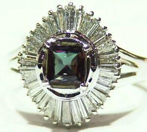 Vintage 1.26CT Platinum Natural Brazilian Alexandrite Diamond Engagement Ring
