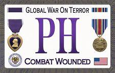 "Purple Heart - Global War On Terror - Magnetic Sign - 6"" L X 3.75"" H - Outdoor"