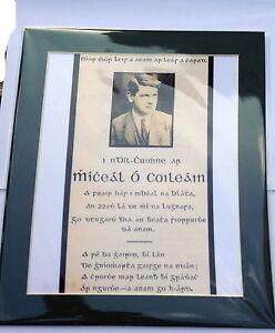 GENERAL MICHAEL COLLINS MEMORIAL CARD IN IRISH PHOTO