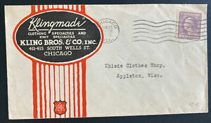 1919 Chicago IL USA Advertising Cover To Appleton WI Klingmade
